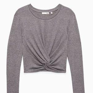 WILFRED Free gray Ortiz crop long sleeve shirt S